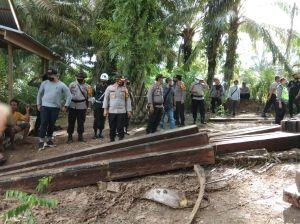 Polres Muarojambi Amankan Ratusan Kayu Ilegal Logging di Sungai Kumpe